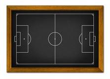 在木制框架的足球场。 免版税库存图片