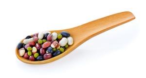 在木匙子的五粒混合豆 图库摄影