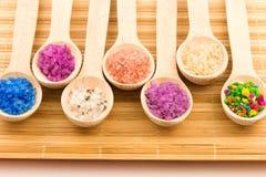 在木匙子的五颜六色的海盐 免版税库存照片