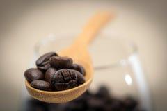 在木匙子的咖啡豆 库存图片