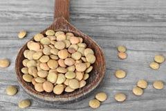 在木匙子的扁豆豆 免版税图库摄影