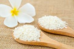 在木匙子的白米五谷有白花的 库存照片