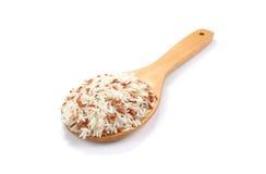 在木匙子的米在白色背景 免版税库存照片