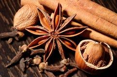 在木匙子的香料 香料成份辣椒、盐,喜马拉雅盐,美味和黑胡椒平的位置在灰色木板的 免版税库存照片