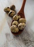 在木匙子的鹌鹑蛋 图库摄影