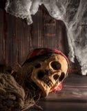 在木地板上的人的头骨 免版税库存图片
