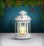 在木地板上的圣诞节灯笼与在黑暗蓝色的杉木分支 皇族释放例证