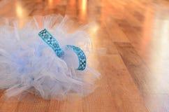 在木地板上的浅兰的芭蕾舞短裙 库存照片