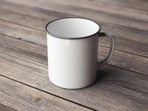在木地板上的白色搪瓷杯子 3d翻译 库存图片