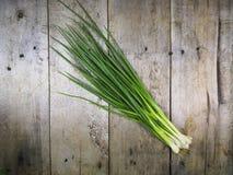 在木地板背景1的春天葱 图库摄影