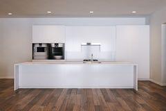 在木地板3d上的白色minimalistic厨房回报 皇族释放例证