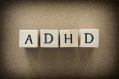 在木块的ADHD简称 免版税库存图片