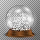 在木垫座的水晶雪地球 与木装饰的透明传染媒介snowglobe 皇族释放例证