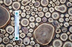 在木墙壁上的摄氏度校准的木温度计, 免版税库存照片