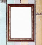 在木墙壁上的空白的木框架 免版税库存图片