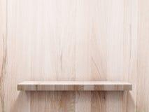 在木墙壁上的空的木架子 库存照片