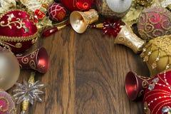 在木头的圣诞节装饰 库存照片
