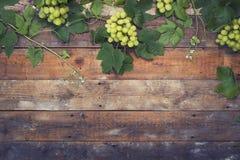 在木头的葡萄 免版税库存照片