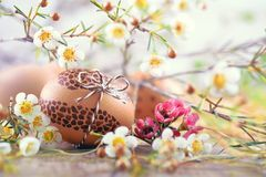 在木头的被绘的复活节彩蛋与白花和干草 库存图片