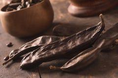 在木头的角豆树荚 免版税图库摄影