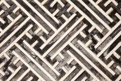 在木头的韩文几何模式 免版税库存图片