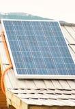 在木屋顶的太阳电池板在mountrain区域房子 免版税库存图片