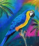 在木日志油画的金刚鹦鹉在帆布 库存图片