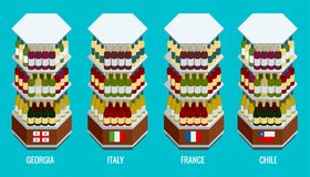 在木机架堆积的等量酒瓶乔治亚,意大利,法国,智利 蝴蝶 免版税库存照片