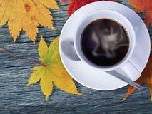 在木材和槭树的咖啡在桔子离开, 免版税图库摄影