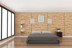 在木条地板木设计的现代卧室装饰与从黑窗口的光在3D翻译 库存图片