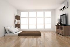 在木条地板木设计的现代卧室装饰与从窗口的光在3D翻译 免版税库存照片
