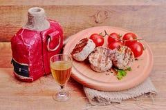 在木板材的肉 免版税库存图片