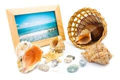在木板材的辅助部件海滩 免版税图库摄影