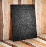 在木板条墙壁和地板上的空白的石块,嘲笑由disp决定 库存图片