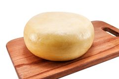 在木板条的可口圆的乳酪 库存图片