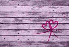 在木板条的心脏装饰 免版税库存图片