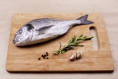 在木板条的新鲜的dorado鱼海鲜 免版税图库摄影