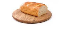 在木板白色的新鲜面包 免版税库存图片