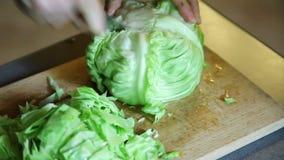 在木板的切口圆白菜 免版税图库摄影