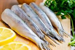 免版税库存图片 与成份的生鱼在木板。