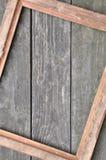 在木板的照片框架 库存图片