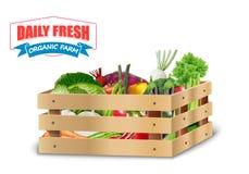 在木板箱的新鲜蔬菜有最高荣誉的在白色背景 库存图片