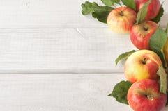 在木板背景的有机Akane苹果 图库摄影