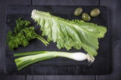 在木板设置的开胃菜 用橄榄,荷兰芹,大蒜 顶视图 可能 图库摄影