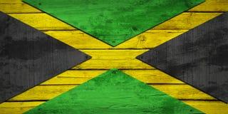 在木板绘的牙买加旗子 皇族释放例证