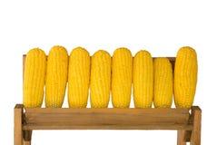 在木架子的玉米 库存图片