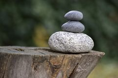 在木树桩,白色和灰色凝思小卵石的三块禅宗石头堆耸立 免版税库存图片