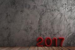 在木样式的红色2017文本在未加工的水泥 库存图片