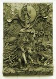 在木框架的被雕刻的泰国大象 图库摄影