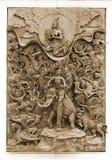 在木框架的被雕刻的泰国大象 库存图片